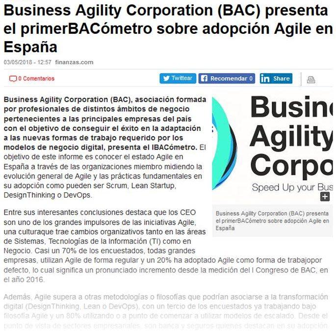 Finanzas.com: BAC presenta el primer BACómetro sobre adopción Agile en España